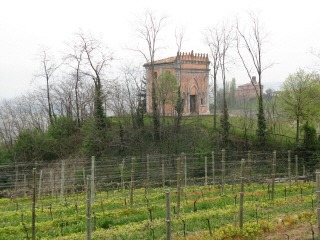 Piemonte vineyards share the landscape with lovingly preserved Old World architecture (near Barolo)
